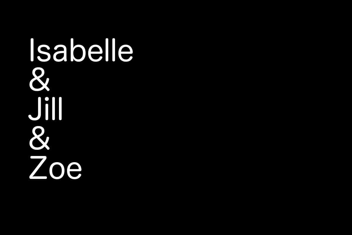 Isabelle, Jill & Zoe - Figuren aus den Kurzgeschichten von Sascha Dinse