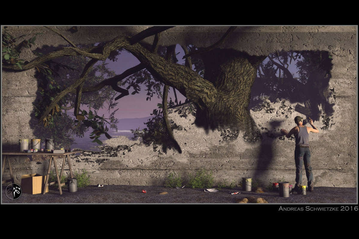 """3D-Grafik von Andreas Schwietzke, Cover der Anthologie """"Inspiration"""""""