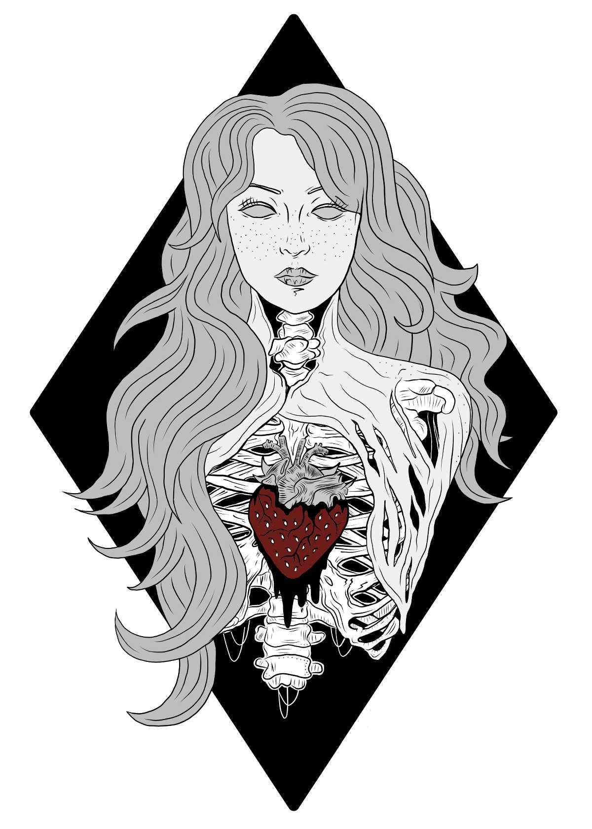 erdbeermädchen, illustration von elisa garrett